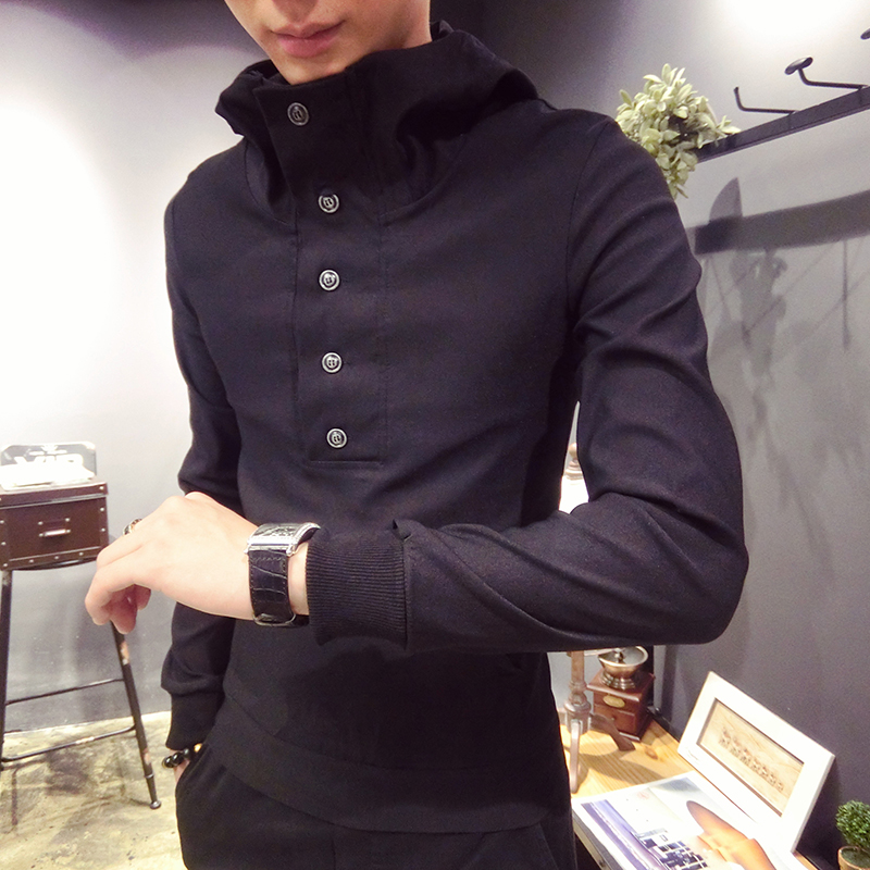2018 Autumn New Fashion Leisure Hooded Turtleneck Collar Collar Windproof Sweater Slim Male Sweater T-shirt