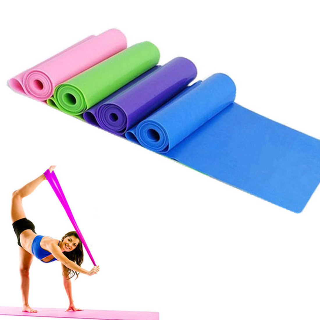 Beautiful Set Of 2 Short Resistance Band And 1.5m Yoga Pilates Stretch Resistance Exercise Fitness Band Fitness Equipments Resistance Bands