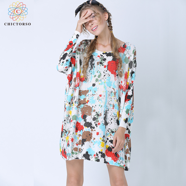 4babf174e9c Chictorso Fashion Colorful Print Women Sweater Dress Cute Jumpers Batwing  Long Sleeve Autumn Long Pullovers Girl Spring Knitwear