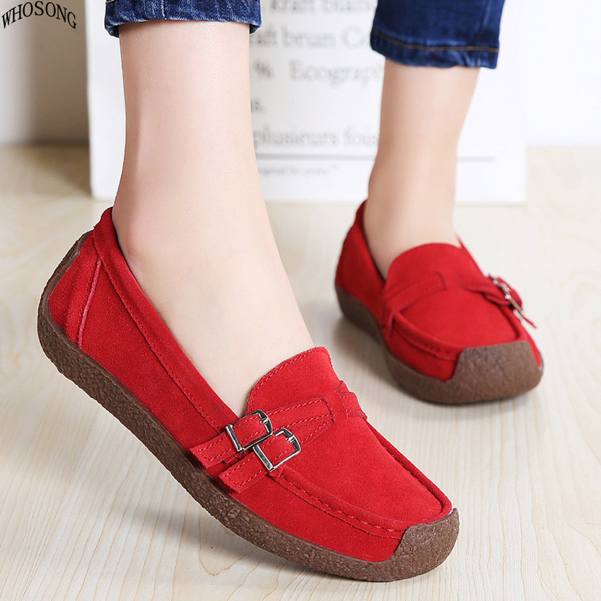 WHOSONG Spring women shoes   leather     suede   slip on loafers shoes ladies ballet flats shoes female boat oxford shoes M54
