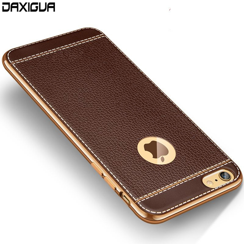 DAXIGUA Luxury Leather Cases For iPhone 6 7 8 Plus X Case Plating Coque Cover For iPhone 6 7 8 plus X Phone Shell Case Cover