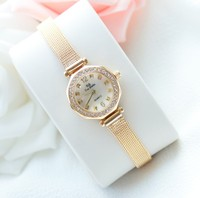 New Elegant Women Gold Watch Fashion Simple Dress Watch High Quality Lady Smart Rhinestone Wristwatch Female