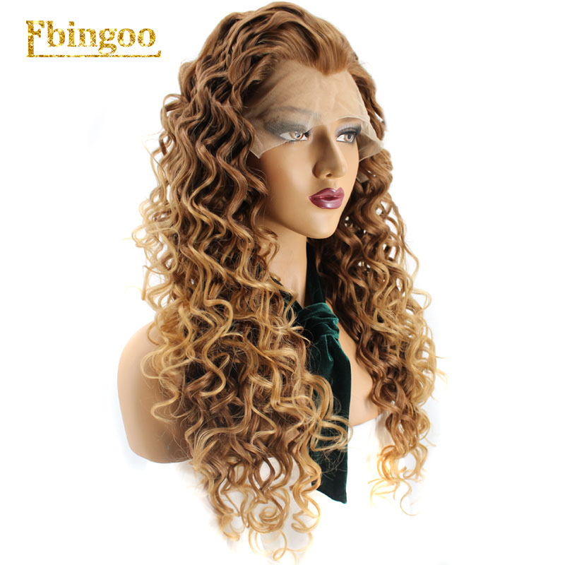 Ebingoo High Temperature Fiber 360 Frontal Long Deep Wave Full Hair Wigs Blonde Synthetic Lace Front