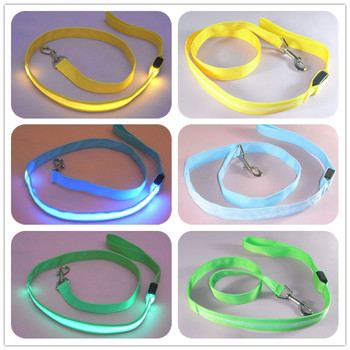 Nylon LED Light Up Dog Leash Night Safety LED Flashing Glow In Dark Dog Collar Pet Supplies Cat Drawing Small Lead LED Dog Leash 1