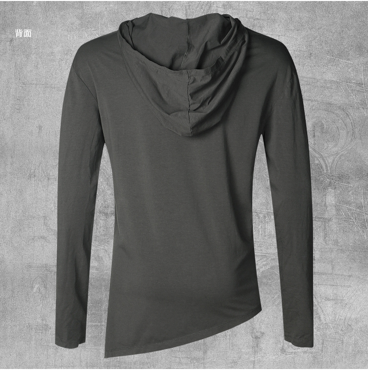 HTB1GpuHKbuWBuNjSszgq6z8jVXaW - Men Autumn New European Style High Collar Long Sleeve Hooded T-shirt with Cap Men Slim Casual Cotton Irregular T-shirt T908