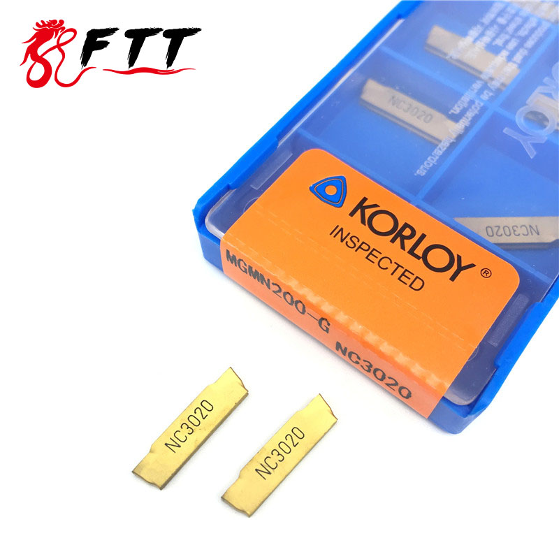 KORLOY 10PCS MGMN200 G NC3020 grooving carbide inserts MGMN 200 lathe cutter turning tool Parting and grooving tool Parting off 2mm wide blade cutter rod 12mm outer diameter cutting arbor external grooving lathe tool holder width grooving parting cutting
