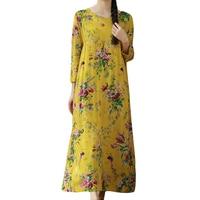 2016 New Arrive Autumn Winter Women Casual Print A Line Full Sleeve Regular Floor Length Dress