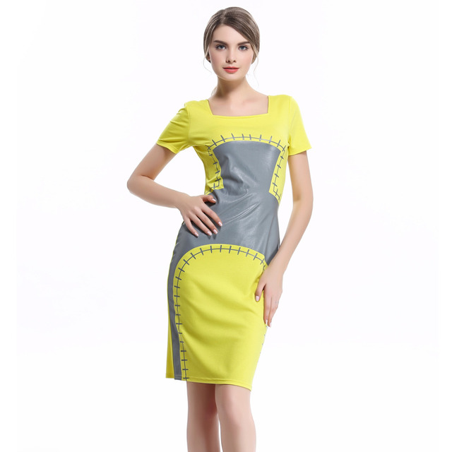 108249c8c0 Aamikast Print Dresses Hot Sale Summer Autumn Square Collar Pencil Party  Evening Business Bodycon Women Dresses