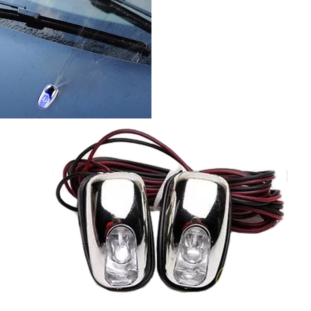 Car Styling Universal 2pcs LED Light Lamp Windshield Washer Wiper Jet Water Spray Nozzle Spout Wiper Washer Eye ...