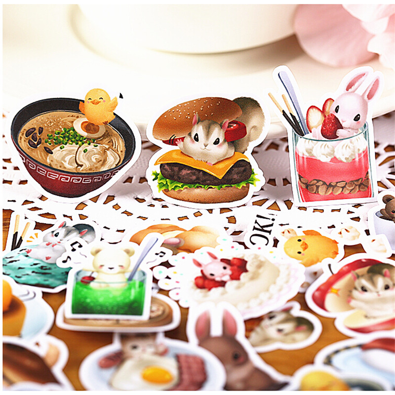 40pcs Creative Cute Self-made Meng Pet Food Scrapbooking Stickers /Decorative Sticker /DIY Craft Photo Albums Kawaii