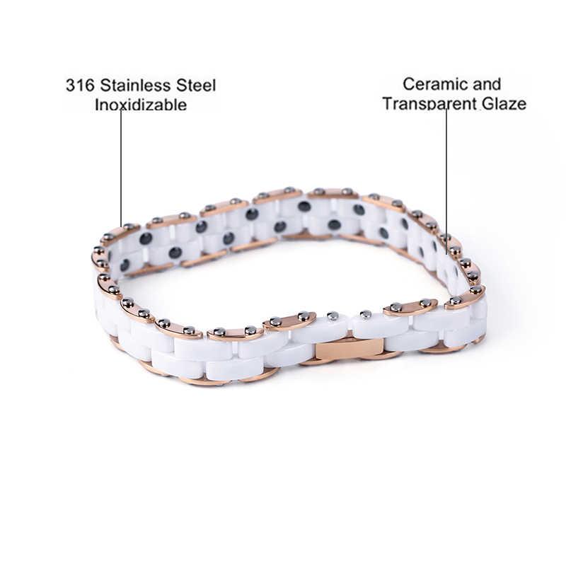 2018 dwie warstwy energii energii ceramiczne bransoletki dla kobiet mężczyzn wysokiej jakości złota róża kolor zdrowe ze stali nierdzewnej bransoletka prezent
