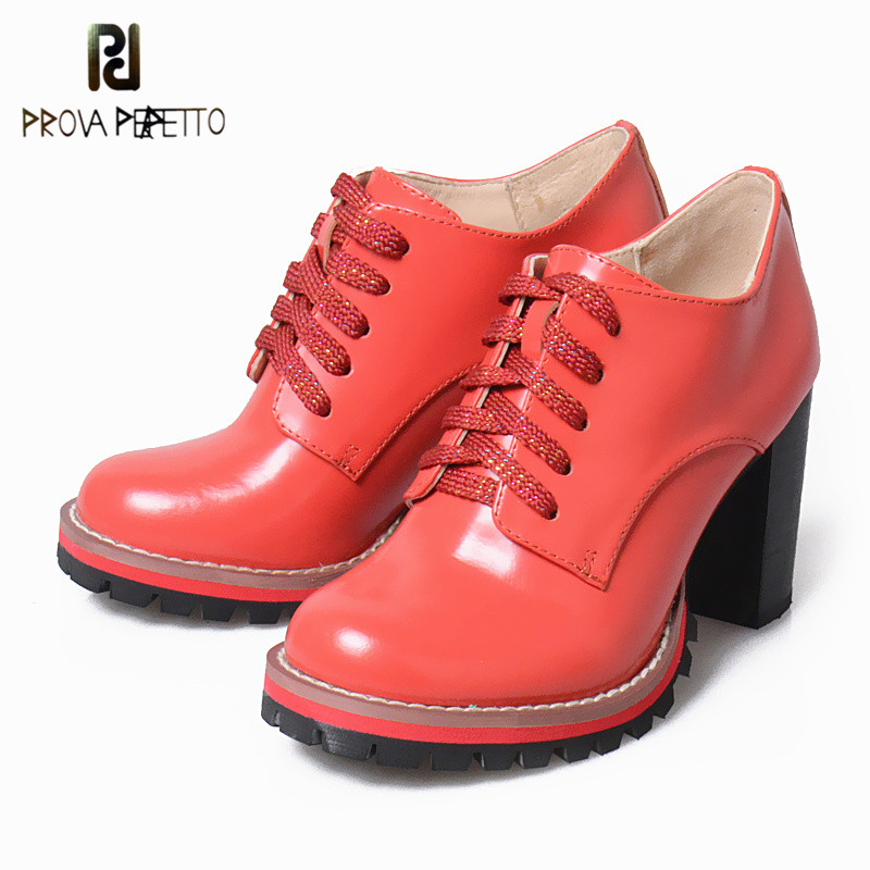 Prova Perfetto 2018 Autumn Winter Retro Ankle Boots Thick Heel Women Short Boots High Heel Patent Leather Martin Female Boots цена 2017