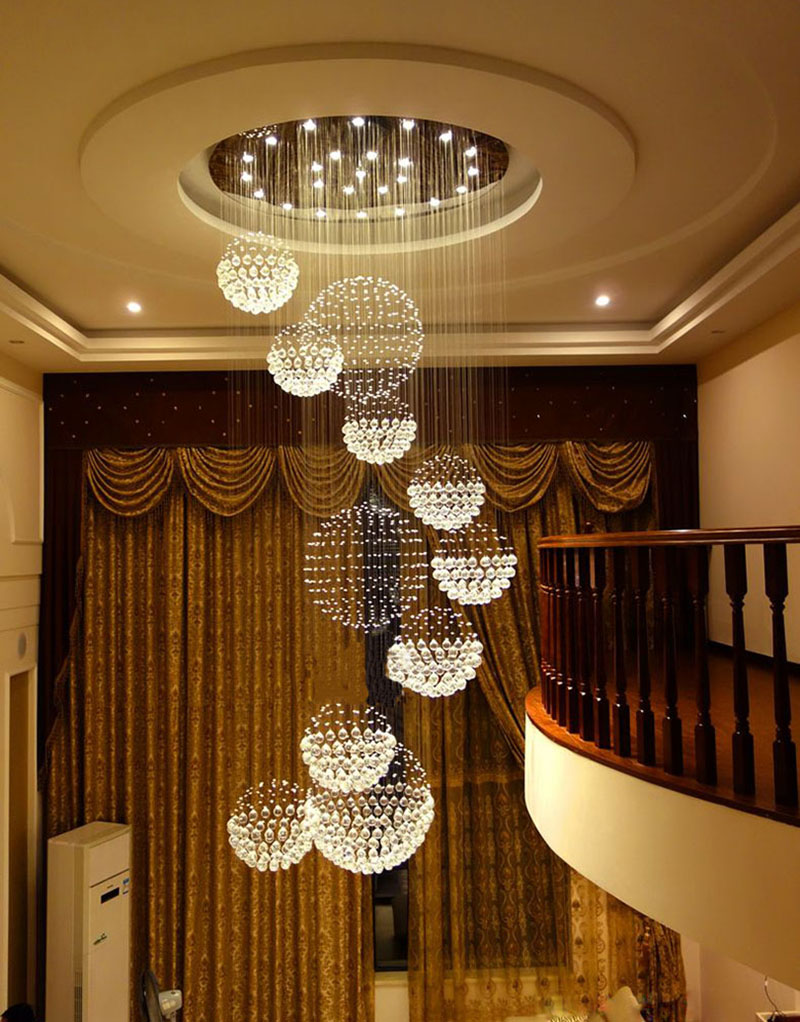 cristal bola design lustre grandes lustres luzes d80 * h300cm garantia 100%