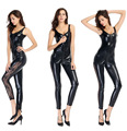 Sexy Lady Black Leather bandage Zipper Open Crotch Temptation Lingerie Women Teddies Club Costumes Sex Products Adult Games