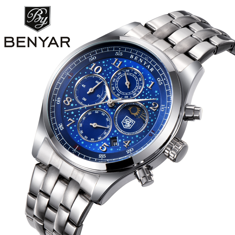 BENYAR Top Brand Luxury Watch Man Waterproof Quartz Moon Phase Chronograph Mens Watches Business Stainless Steel Reloj Hombre купить недорого в Москве