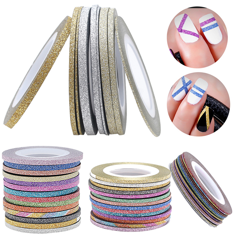 2018 Charms 1 Roll 1mm/2mm/3mm Laser Glitter Striping Tape Line Nail Art Decoration Beauty Nail Accessories for DIY-in Stickers & Decals from Beauty & Health