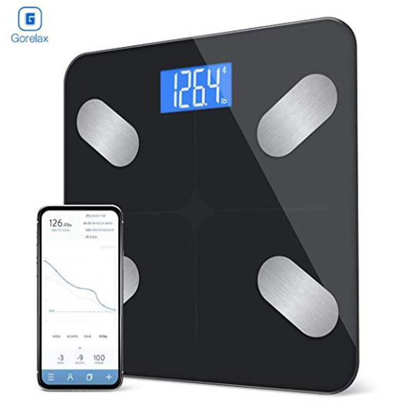 Body Fat Weight Floor Scale Scientific Digital Smart Bluetooth Weighing Scale BMI Bathroom Fitness Scale 180Kg with Backlit LCD floor