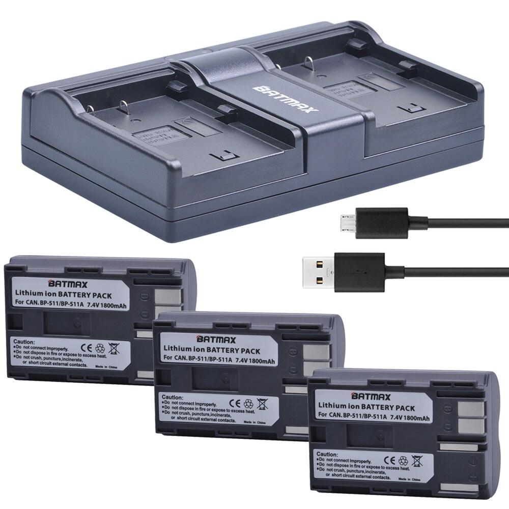 3 шт. 1800 мАч BP 511A BP 511 BP 511 511A BP511 BP511A батарея + USB двойное зарядное устройство для камеры Canon EOS 40D 300D 5D 20D 30D 50D