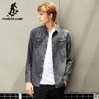 Pioneer Camp New Spring Denim Shirt Male Brand Clothing Fashion Denim Shirt Men Top Quality 100