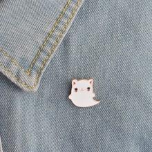 Модная эмалированная брошь с изображением белого котенка, милые женские булавки на воротник с лацканами, броши для домашних животных, кошек, белый спектр привидения