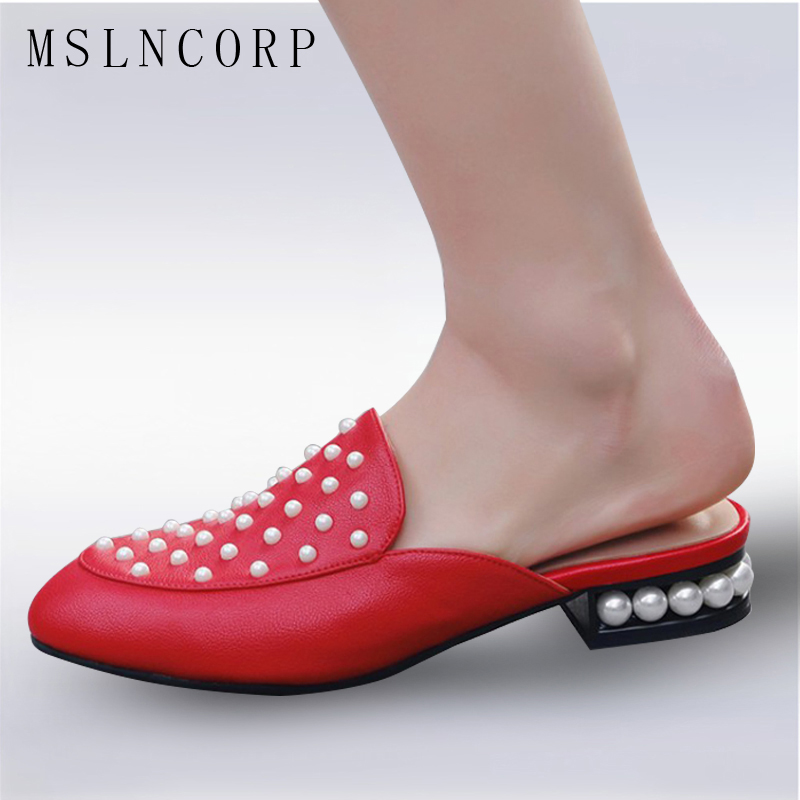 Size 34-43 New Spring Summer Fashion Pearl Rivet Flat Woman Slippers Soft Leather Slip On Mules Comfortable Loafers Casual Shoes cresfimix women cute spring summer slip on flat shoes with pearl female casual street flats lady fashion pointed toe shoes