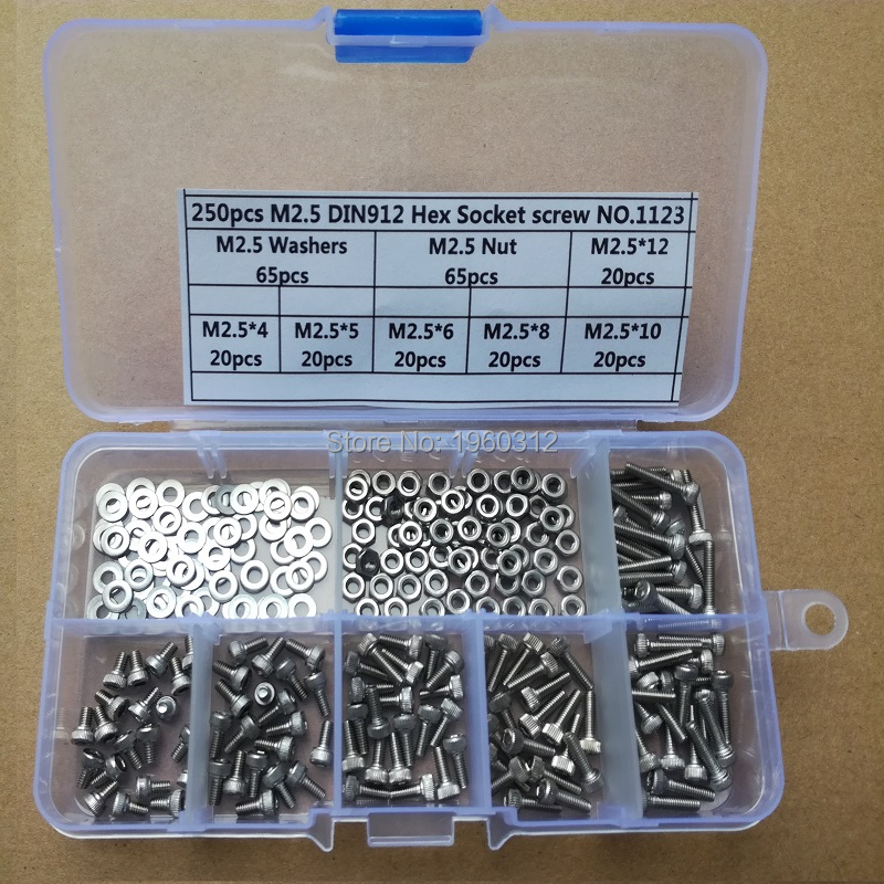 Bolts Screws Assortment-Mix-Kit Hexagon-Socket 304-Stainless-Steel M2.5 M1.6 Head-Cap