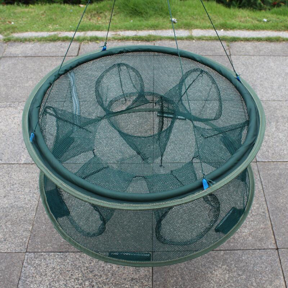 FishingLife Hole Automatic Fishing Trap Net Fish Shrimp Minnow Crab Baits Cast Mesh Trap Two Layers 5 6 7 8 Holes