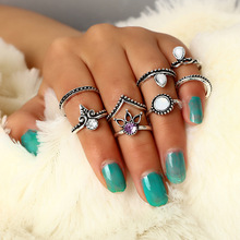 hot deal buy hot sale rings set funny body jewelry accessories crown vintage metal rings women fine jewellery flower punk fashion finger ring
