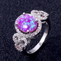 ZHE FAN Oval Fire Opal Women Ring AAA CZ Zircon Micro Pave Halo Finger Rings Jewelry Female White Brown Blue Pink