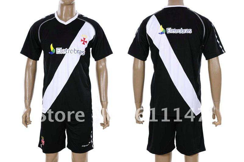 cee613208 Free shipping 2011 12 Vasco da Gama away black and white sports uniforms