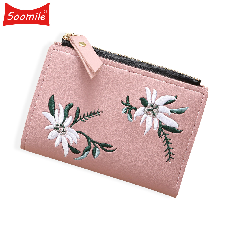 Soomile embroidery mini clutch bag 2018 new hot sale women small short wallet PU leather lady coin purse Female Girl card holder women cute tassels zipper card holder wallet vintage bird embroidery short purse pu leather coin pocket lady casual money bag
