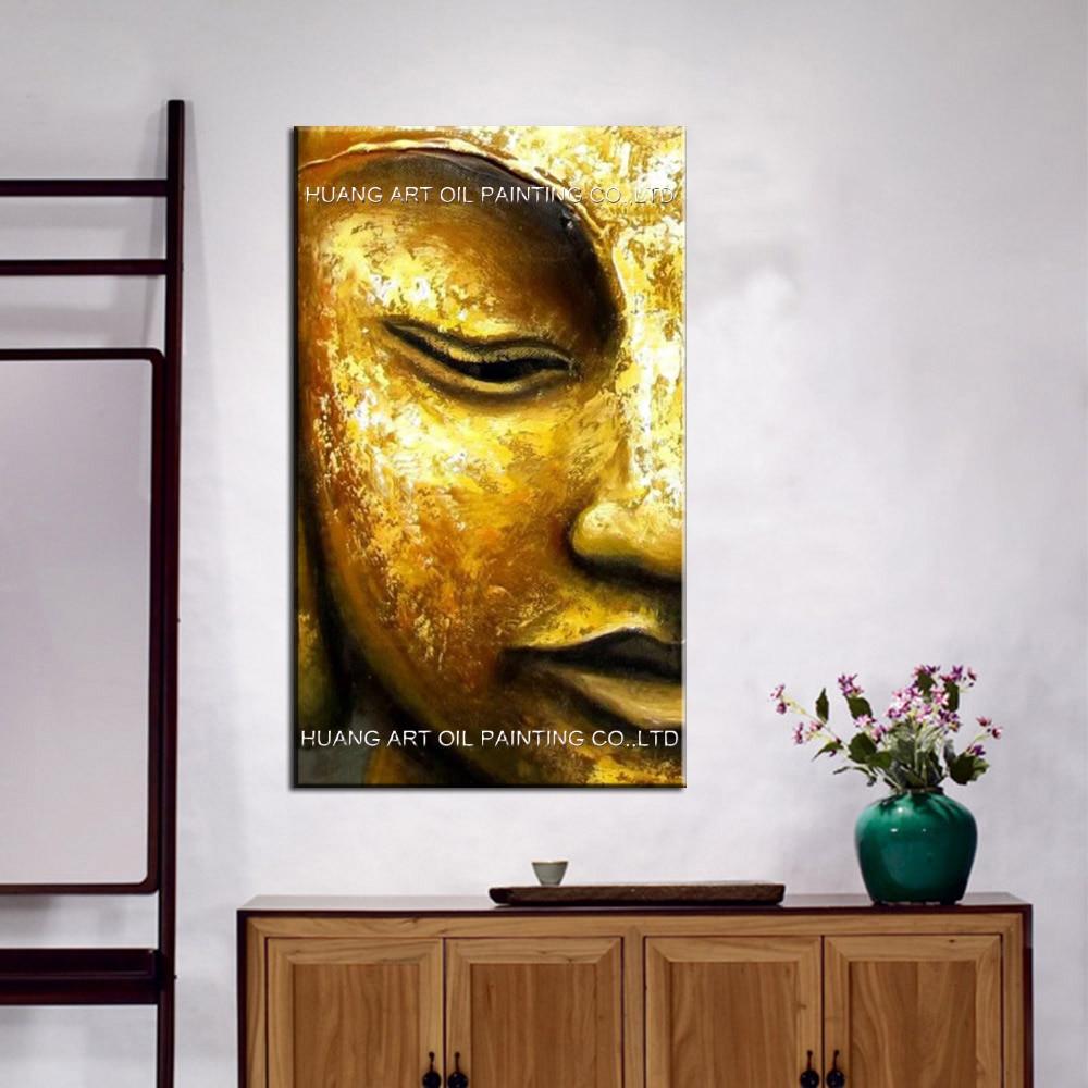 100 % 수제 현대 황금 노란색 부처님 반 얼굴 유화 - 가정 장식 - 사진 2