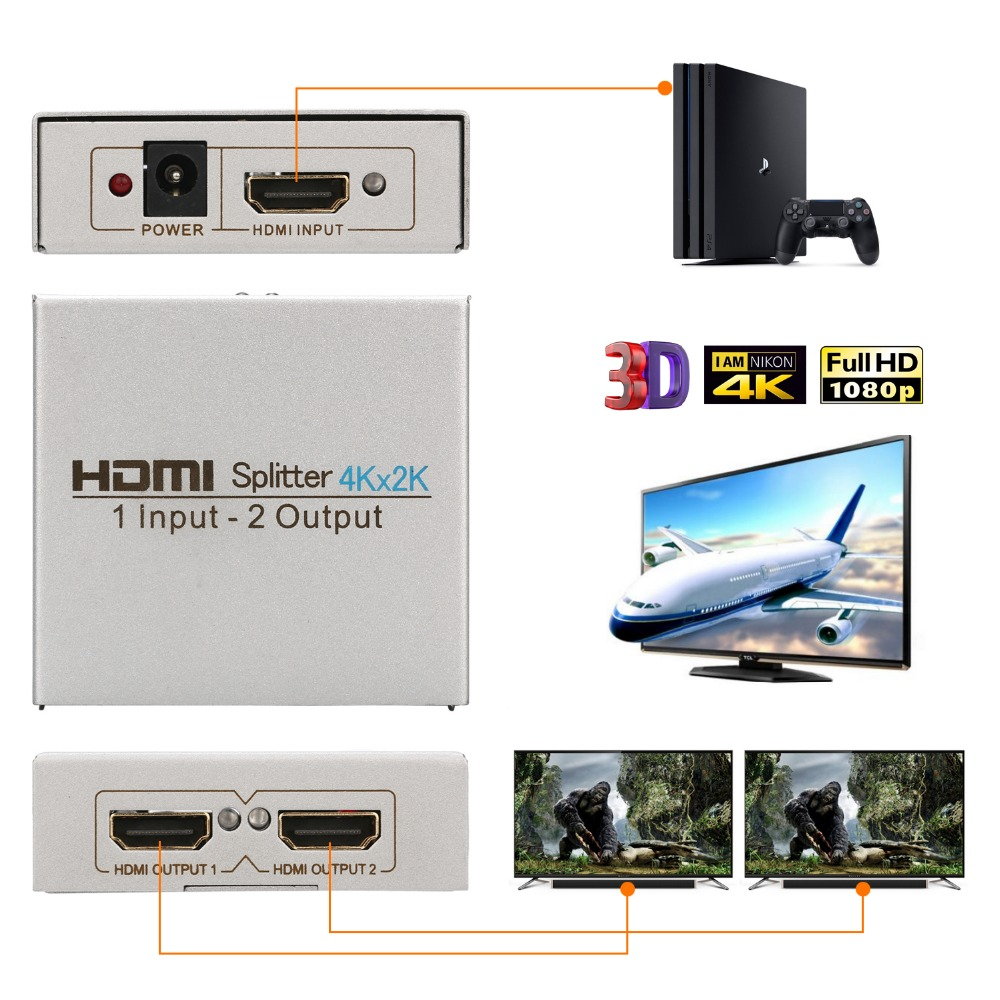 Image 2 - HDMI Splitter 1 in 2 out,Atolla Splitter Ver 1.4 HDCP compatible DC/5V, 2 Port HDMI Supports 4K Ultra HD,1080P,3D, HDMI Switcher-in Memory Card Adapters from Computer & Office