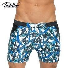 Taddlee марка сексуальная мужская купальники плавать боксер стволы основной плавание Совета Шорты Серфинг 3D Высотных Купальники Большой Размер XXL