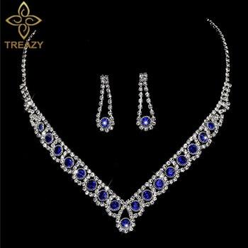 New Royal Blue Crystal Bridal Jewelry Set 1