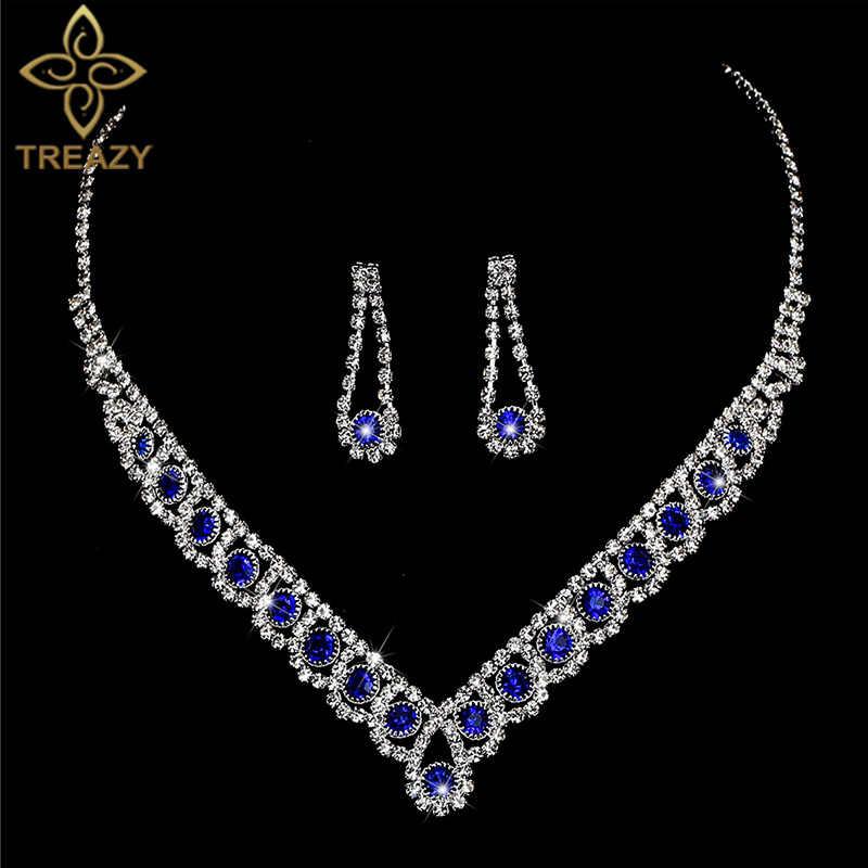 ad28a57bb83b7 TREAZY Charm Royal Blue Crystal Teardrop Bridal Jewelry Sets Choker ...