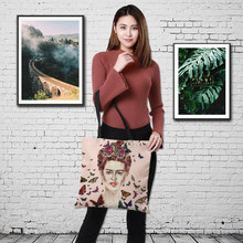 CROWDALE Double-sided printing Frida Kahlo style Printe Large Shopping Bag Ladies fashion Linen sack Halloween gift bag 43 *43cm(China)