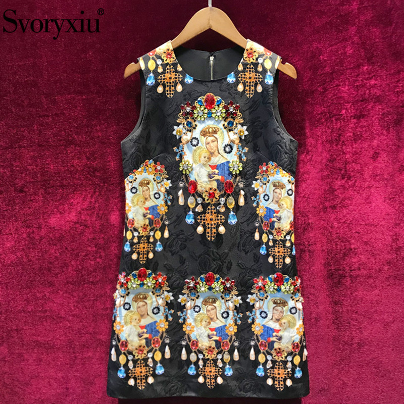 Svoryxiu Runway Custom Made Summer Jacquard Short Dress Women s luxury Diamonds Madonna Print Sleeveless Vintage