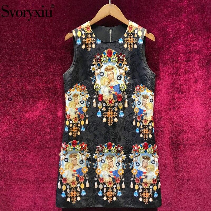 Svoryxiu รันเวย์ Custom Made ฤดูร้อน Jacquard ชุดผู้หญิงหรูหราเพชร Madonna พิมพ์เดรสวินเทจ-ใน ชุดเดรส จาก เสื้อผ้าสตรี บน   1