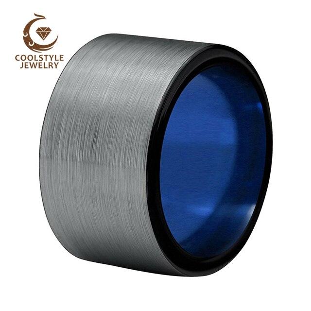 10mm Large Width Black Blue Tungsten Carbide Wedding Enagement