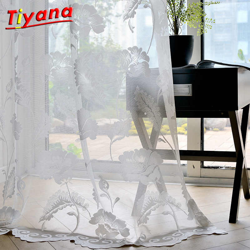 White Floral Design Jacquard Sheer Tulle Panels for Windows Cortina for The Living Room Bedroom Rideau valance curtain WP101*30