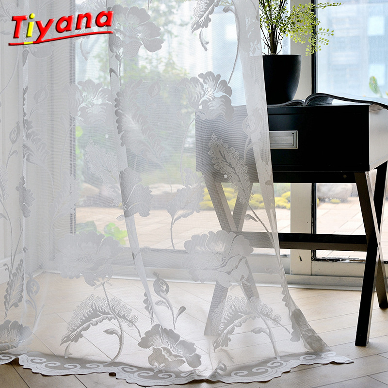 White Floral Design Jacquard Sheer Tulle Panels for Windows Cortina The Living Room Bedroom Rideau valance curtain WP101*30