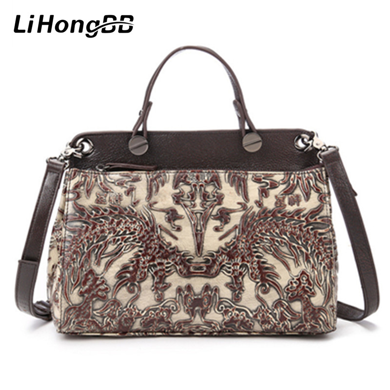 2017 Famous Brand Genuine Leather Women Handbag Fashion Embossed Floral Print Ladies Tote Bags Female Shoulder Bag Shell Bags