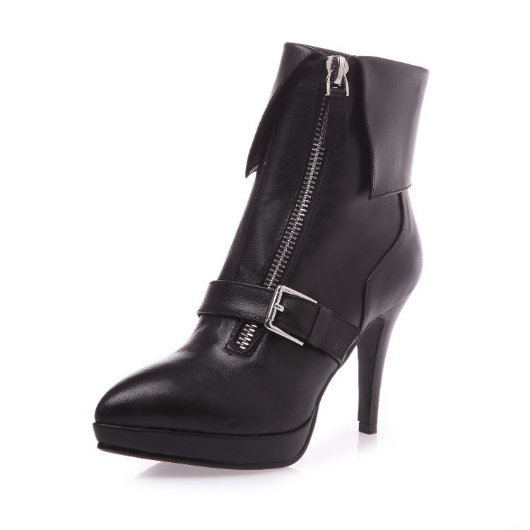 Autumn Winter Women Genuine Leather Thin High Heel Platform Buckle Pointed Toe Zipper Fashion Ankle Boots Size 34-39 SXQ0811 autumn winter women thick high heel genuine leather buckle side zipper pointed toe fashion ankle martin boots size 34 39 sxq0902