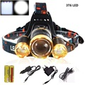 10000 Lumens 3T6 LED Headlight Headlamp CREE XML T6 Waterproof zoom Head Light 18650 Rechargeable Battery Front Flashlight Torch
