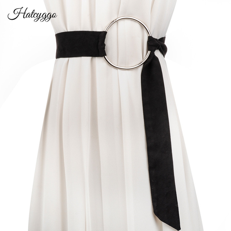 HATCYGGO Fashion Woman Belts For Dress Knot Big Ring Waist Belt Wide Belts For Women Cummerbunds For Girls String Waistband