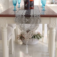High Quality Water Soluble Tulle Lace Romantic Dining Table Runner Mats Coffee Tablecloth TV Cover Towel Christmas Wedding Decor