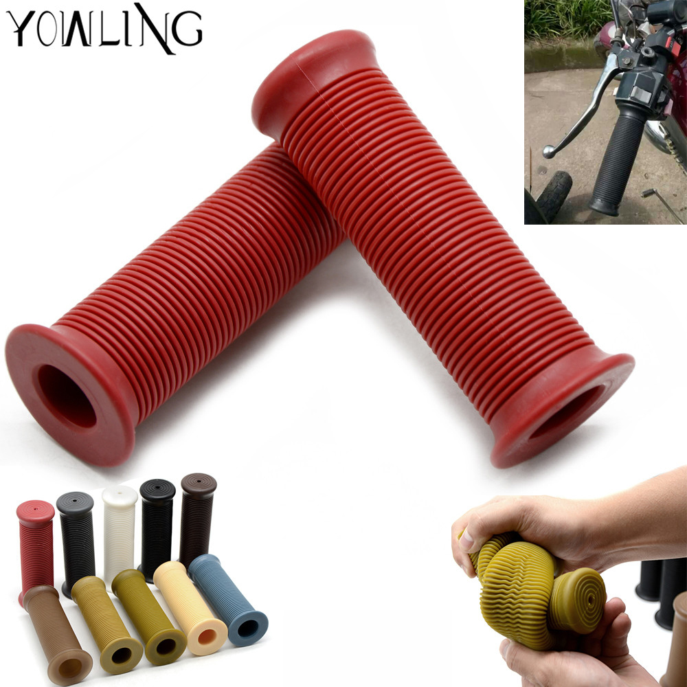 1 Pair Universal Motorcycle 7 8 quot Rubber Handlebar Rubber Moto Hand Grips Bar End For 22mm vehicle bicycles racing dirt ATV bike in Grips from Automobiles amp Motorcycles