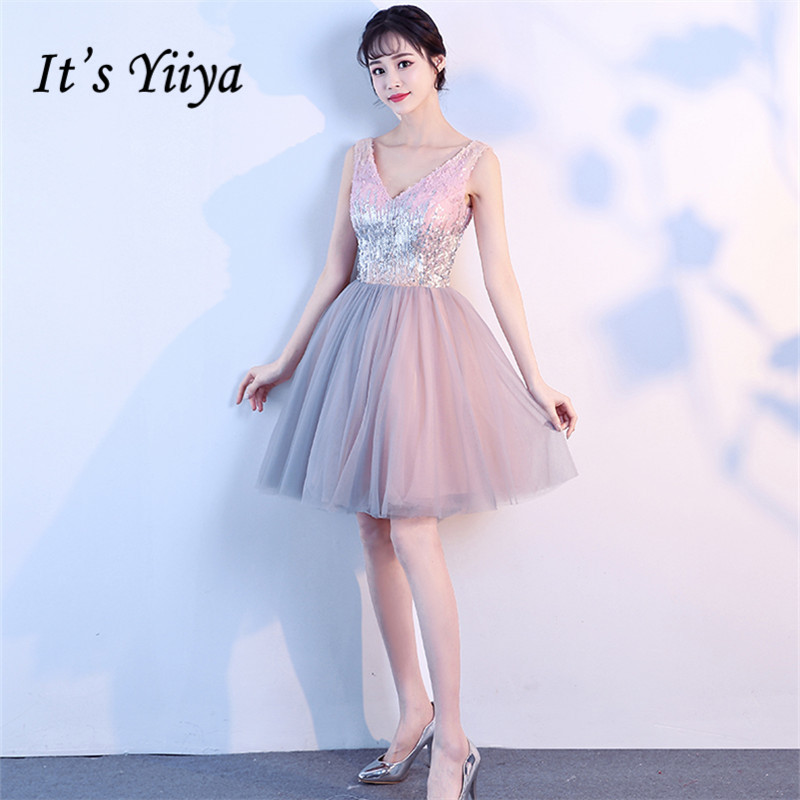 It's YiiYa   Prom     Dresses   Shiny Sequined V-neck Sleevless Pink A-line Party Gowns Sleeveless Mini   Dress   SB002