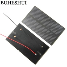 BUHEHUI 1W 5V Monocrystalline PET Solar Panel+15cm Cable Solar Cell Module DIY Solar Charger For 3.7V Battery Study 107*61*2MM